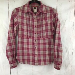 North Face Plaid button pink Flannel Xs